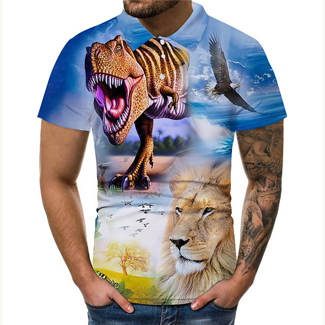 Polo Men's Graphic Prints Dinosaur 3D Print Button-Down Print Casual Short Sleeve Tops Casual Designer Big and Tall Blue