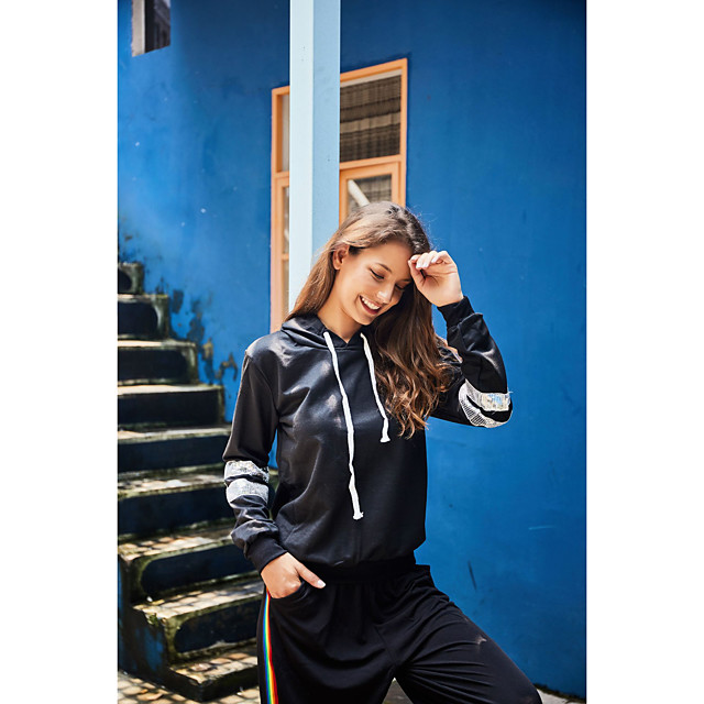 Women's Basic Streetwear Striped Letter Daily Two Piece Set Hoodie Tracksuit Pant Loungewear Drawstring Tops