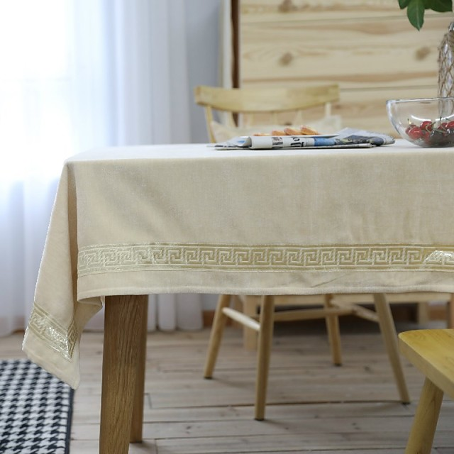 Table Cloth polyester fibre Dust-Proof Embroidery Solid Colored Tabel cover Table decorations for Daily Wear rectangule 90*90 cm Beige fine lace flannel 1 pcs
