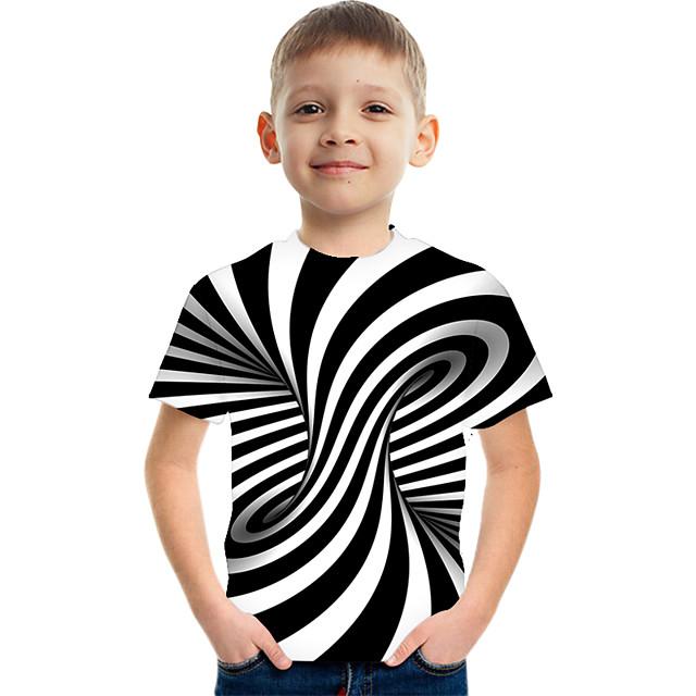 Kids Boys' Tee Short Sleeve Graphic 3D Children Tops Active Black