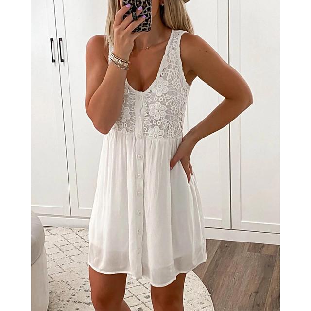 نسائي فستان حمالة فستان ميني أبيض أسود أزرق سماوي بدون كم لون الصلبة بقع الصيف جفاء كاجوال مثيرة 2021 S M L XL