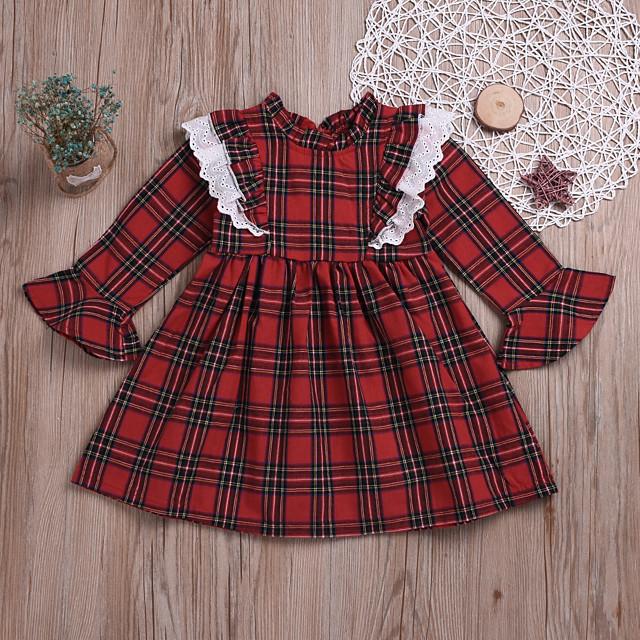Kids Little Girls' Dress Plaid Print Red Long Sleeve Active Dresses Summer Regular Fit 2-6 Years