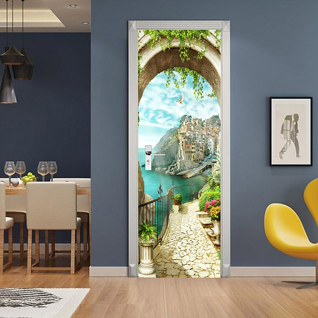 3D 2pcs Self-adhesive Creative Door Stickers Living Room Bedroom Diy Decorative Home Waterproof Wall Stickers 77x200cm
