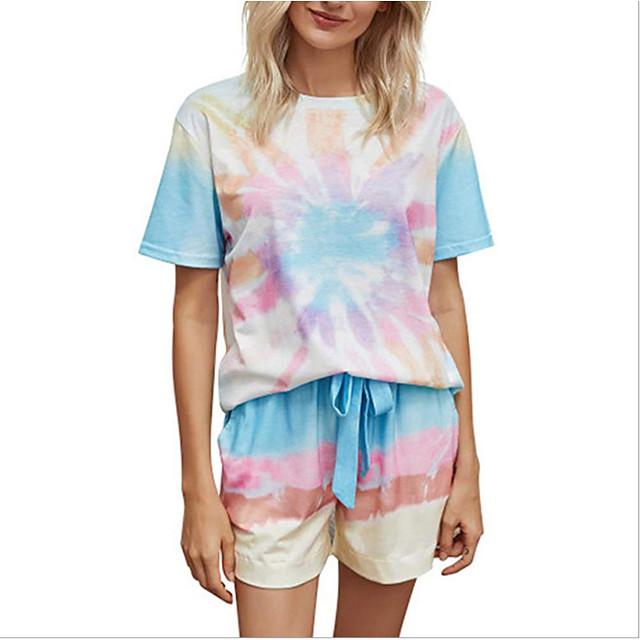 Women's Basic Streetwear Tie Dye Daily Two Piece Set Tracksuit T shirt Loungewear Shorts Drawstring Tops