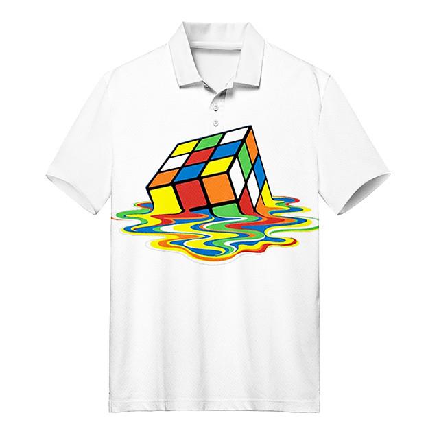 Polo Men's Rubik's Cube 3D Print Button-Down Print Casual Short Sleeve Tops Casual Fashion Soft Breathable White