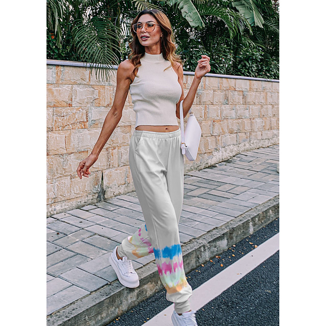 Women's Streetwear Chino Comfort Fitness Weekend Chinos Pants Color Block Tie Dye Full Length Elastic Waist Blue Purple Yellow Blushing Pink Grey