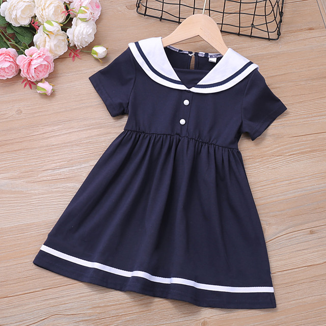 Kids Toddler Little Girls' Dress Blue & White Blue Solid Colored Ruched Blue Above Knee Short Sleeve Regular Basic Cute Dresses Children's Day Summer Regular Fit 3-8 Years
