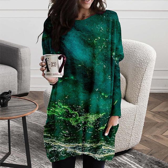 نسائي فستان شيفت فستان ميني أخضر كم طويل طباعة ألوان متناوبة طباعة الخريف الربيع رقبة دائرية كاجوال 2021 S M L XL XXL 3XL
