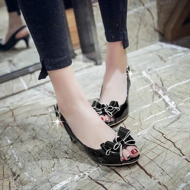 Women's Sandals Kitten Heel Peep Toe PU Synthetics White Black Red