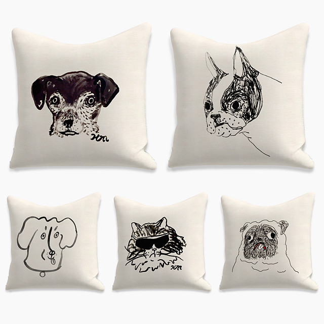 5 pcs Linen Pillow Cover, Animal Square Zipper Polyester Traditional Classic
