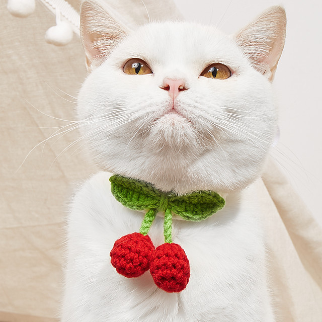 Cat Necklace Cherry Adorable Cute Dailywear Casual / Daily Dog Clothes Puppy Clothes Dog Outfits Washable Red Pink Costume for Girl and Boy Dog Cotton XS S M
