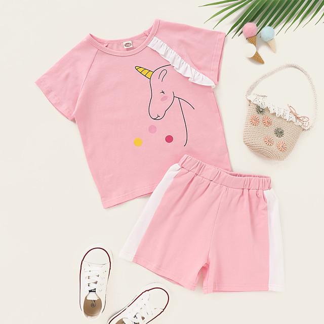 أطفال طفل صغير للفتيات مجموعة ملابس الرسم كم قصير طباعة مناسب للبس اليومي وردي بلاشيهغ نشيط عادية فوق الركبة 2-8 سنوات