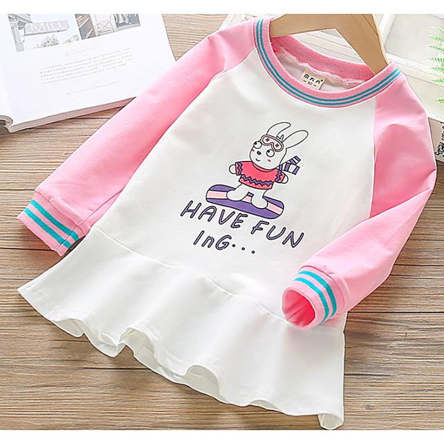 Kids Little Girls' Dress Rabbit Animal Print Blushing Pink Green Above Knee Long Sleeve Sweet Dresses Spring &  Fall Regular Fit 2-9 Years