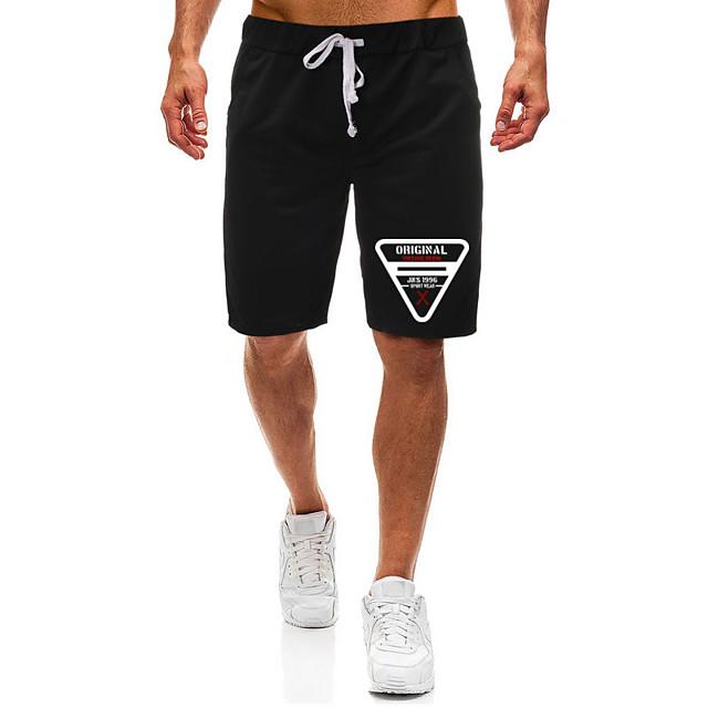 Men's Casual / Sporty Athleisure Daily Gym Shorts Pants Graphic Letter Short Pocket Elastic Drawstring Design Print Black Light Grey