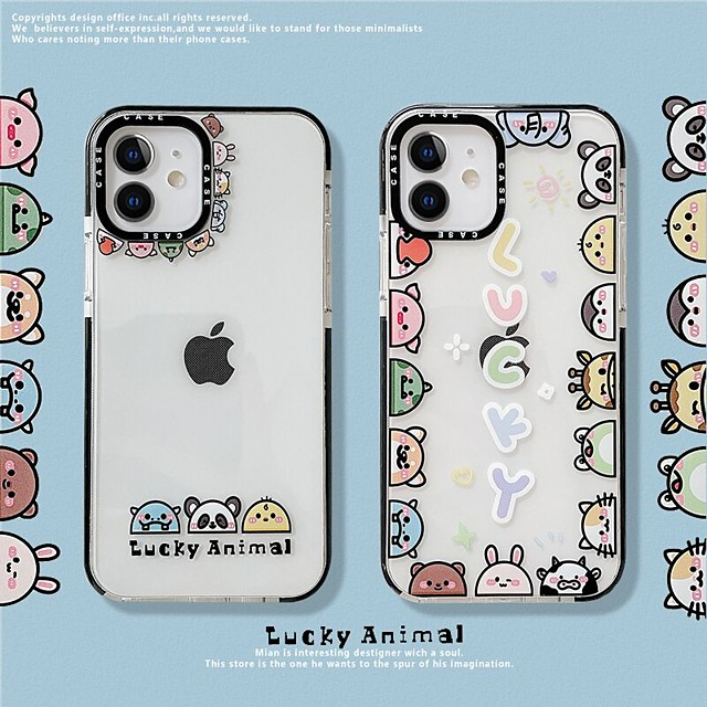 Lovely Animal Patterned Case For Apple iPhone 12 11 SE2020 Shockproof Protective Case TPU Cover for iPhone 12 Pro Max XR XS Max iPhone 8 7
