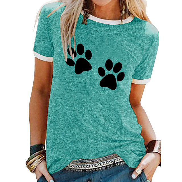 Women's T shirt Animal Patchwork Print Round Neck Tops Basic Basic Top White Blue Purple