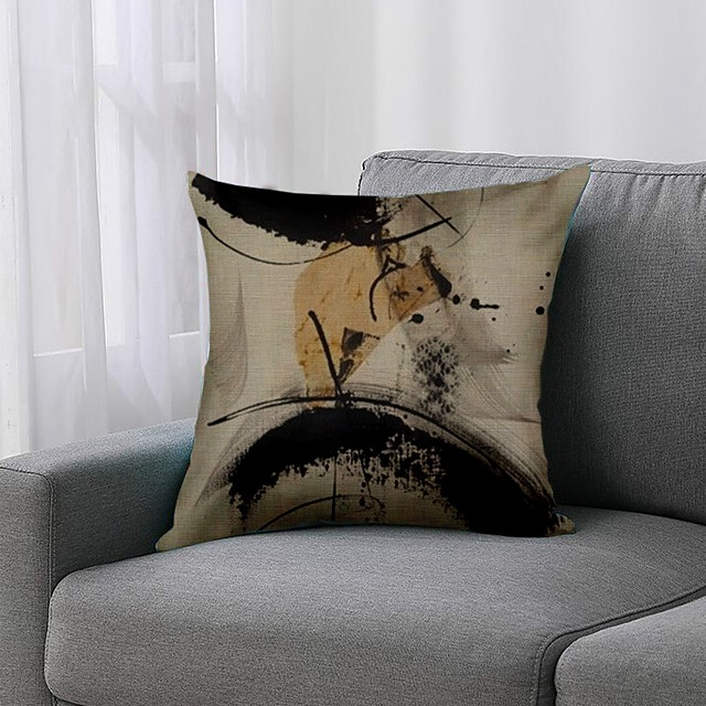 1 Pc Splashed Cushion Cover Double Side Print 45x45cm Linen for Sofa Bedroom