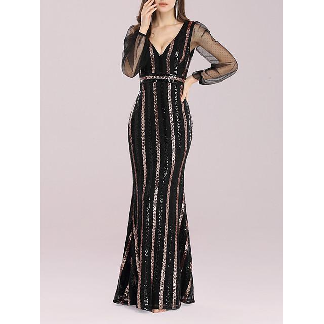 نسائي فستان شيث فستان طويل أسود كم طويل لون الصلبة الخريف الشتاء مثيرة 2021 4XL S M L XL XXL 3XL 4XL