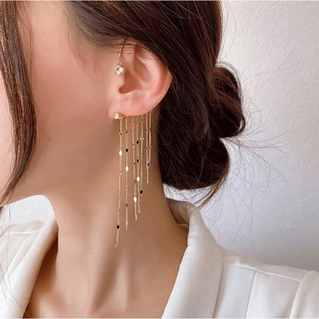 Women's Single Earring Tassel Fringe Stylish Trendy Earrings Jewelry Gold For Date Festival