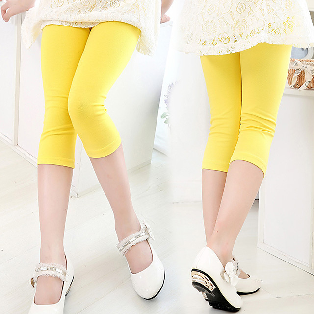 1 Piece Kids Girls' Leggings Solid Colored Basic Yellow 3-12 Years