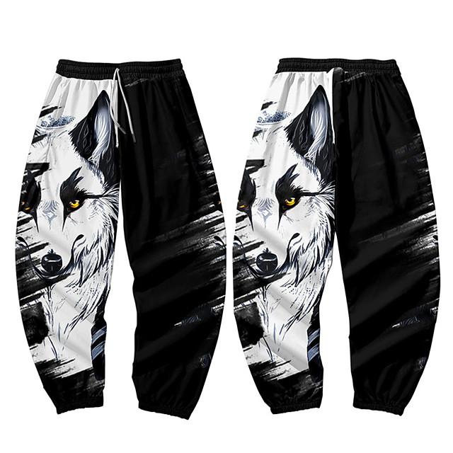 Casual / Sporty Athleisure Men's Jogger Pants Sweatpants Daily Sports Pants Full Length Wolf Elastic Waist 3D Print Black / White