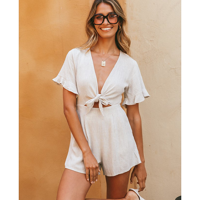Women's Ordinary White Romper Solid Colored Lace up Ruffle