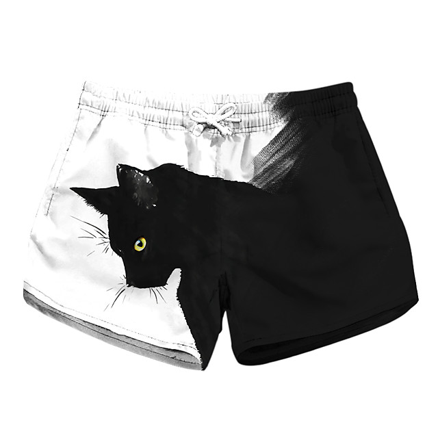 Women's Stylish Novelty Comfort Leisure Sports Weekend Shorts Pants Cat Graphic Prints Short Sporty Elastic Waist Print Black
