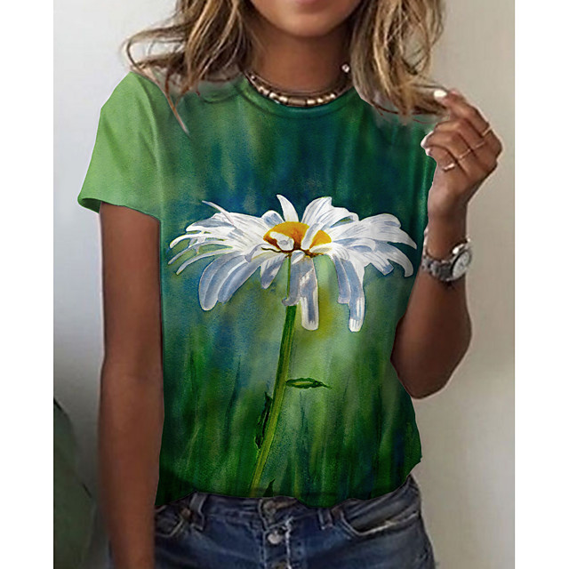 Women's T shirt Graphic Floral Print Round Neck Tops Basic Basic Top Green