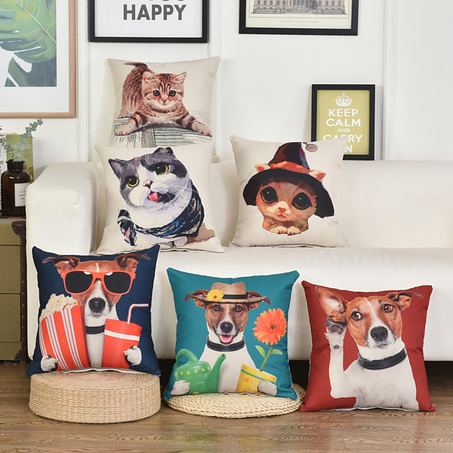 Double Side 1 Pc Cartoon Cushion Cover  Print 45x45cm Linen for Sofa Bedroom