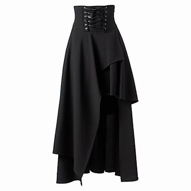 Women's Going out Festival Vintage Punk & Gothic Skirts Solid Colored Layered Drawstring Black