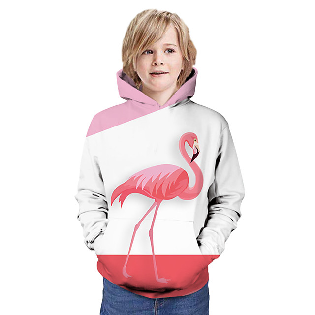 Kids Boys' Hoodie & Sweatshirt Long Sleeve Flamingos Graphic 3D Animal Print Children Tops Active Blushing Pink
