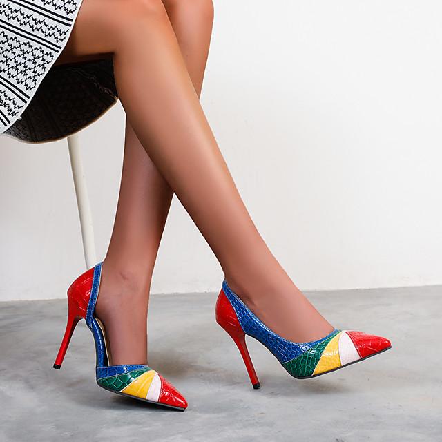نسائي كعوب كعب ستيلتو حذاء براس مدبب PU ألوان متناوبة أزرق بني