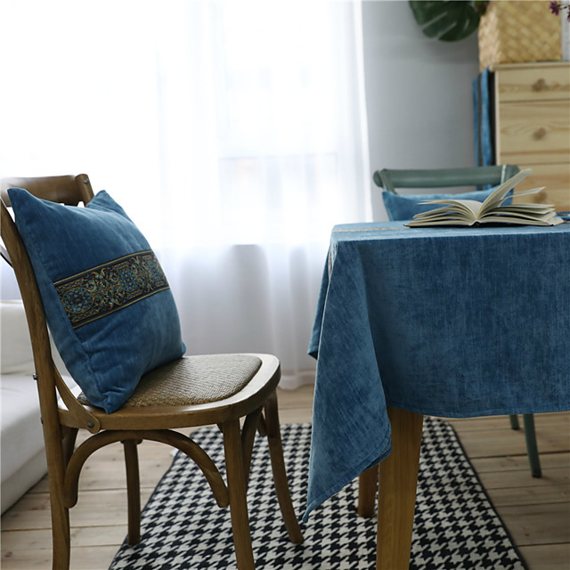 Table Cloth polyester fibre Dust-Proof European Style Embroidered Tabel cover Table decorations for Daily Wear rectangule 90*90 cm Blue wide lace flannel 1 pcs