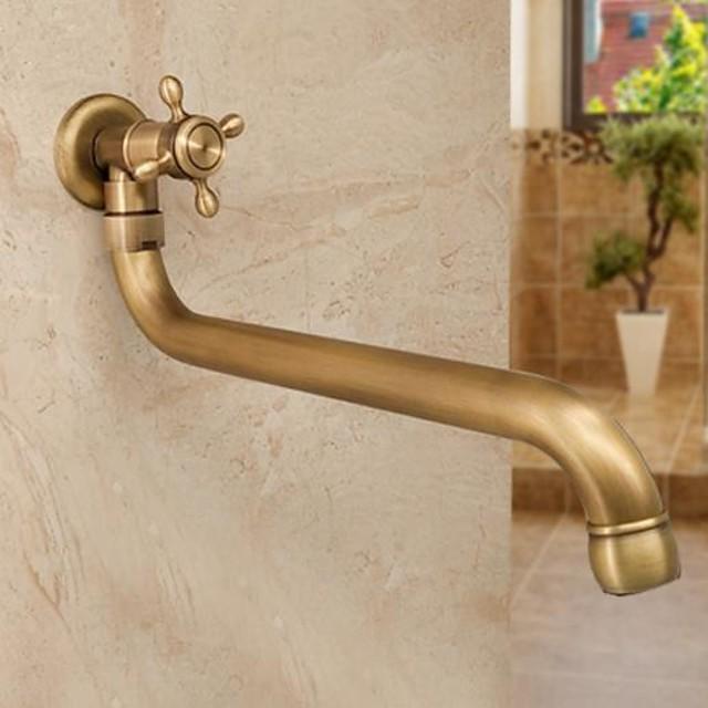 Robinet d'extérieur en cuivre antique allongé simple robinet froid vadrouille piscine robinet mural extérieur rotatif