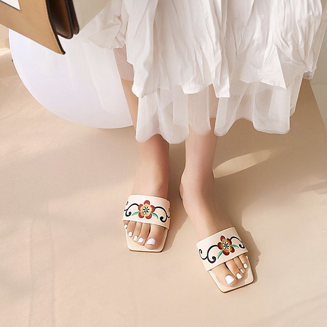 Women's Sandals Boho Bohemia Beach Chunky Heel Square Toe PU Synthetics Almond White Black