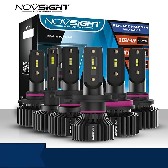 lampadine per auto a led novsight 2 pezzi a500-n31 per h1-h4-h7-h11-9005-9006 fari a led 50w 10000lm per motori generali universali tutti gli anni con video di installazione