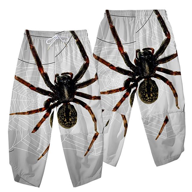 عارضة / رياضي ملابس الرياضة رجالي ساق عريضه مناسب للبس اليومي الرياضة بنطلون مكتمل الطول SPIDER مرونة الخصر طباعة ثلاثية الأبعاد أبيض