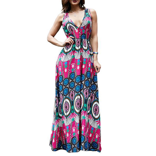 Women's Swing Dress Maxi long Dress printing Real shots of independent models! Sleeveless Floral Print Spring Summer V Neck Casual Sexy 2021 M L XL