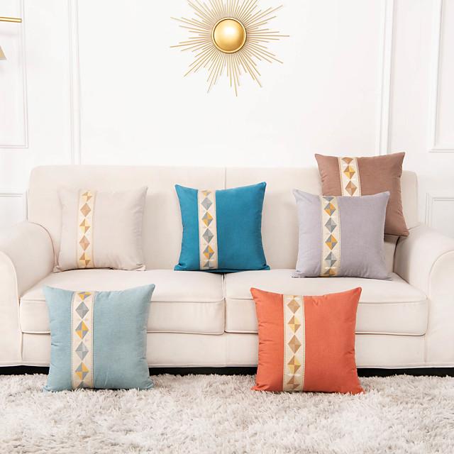 1 Pc Geometric Cushion Cover 45x45cm Linen for Sofa Bedroom