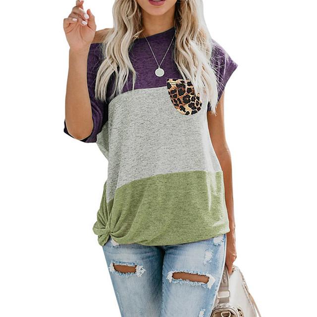 Women's T shirt Plain Pocket Round Neck Tops Basic Basic Top Purple Wine Light Brown