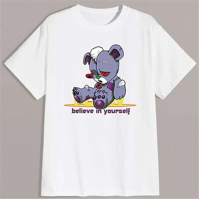 Men's Unisex T shirt Hot Stamping Graphic Prints Toy Bear Plus Size Print Short Sleeve Daily Tops 100% Cotton Basic Fashion Classic White