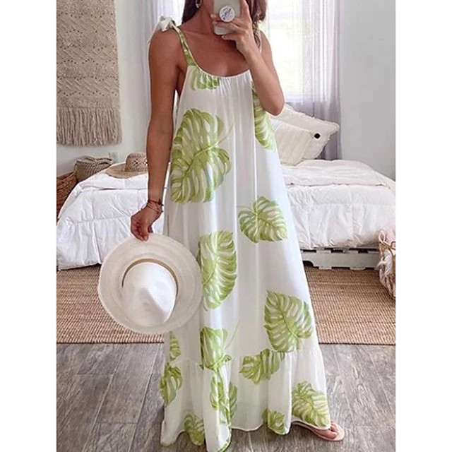 Women's Strap Dress Maxi long Dress White Sleeveless Floral Print Patchwork Print Summer Round Neck Casual 2021 S M L XL XXL 3XL