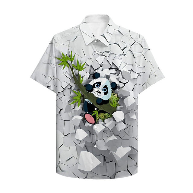 Men's Shirt 3D Print Graphic Prints Panda Button-Down Print Short Sleeve Daily Tops Casual Hawaiian White