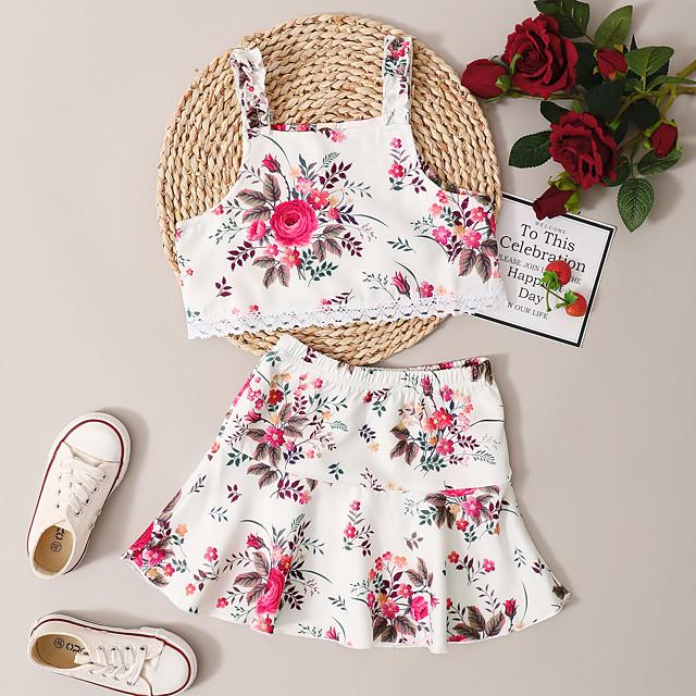 Kids Toddler Girls' Clothing Set Daily Wear Graphic Print Sleeveless Active Regular Above Knee White 2-8 Years