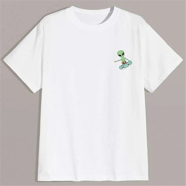 Men's Unisex T shirt Hot Stamping Graphic Prints Alien Plus Size Print Short Sleeve Daily Tops 100% Cotton Basic Fashion Classic White