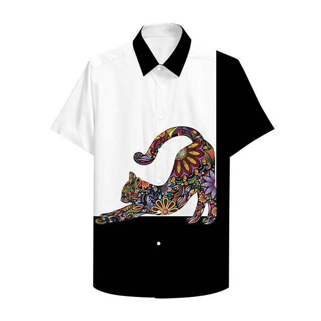 Shirt Men's Cat Graphic Prints 3D Print Button-Down Print Casual Short Sleeve Tops Casual Designer Big and Tall Black / White