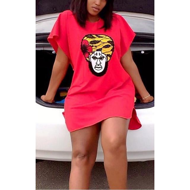 Women's T Shirt Dress Tee Dress Short Mini Dress Red Short Sleeve Print Print Summer Round Neck Casual 2021 S M L XL