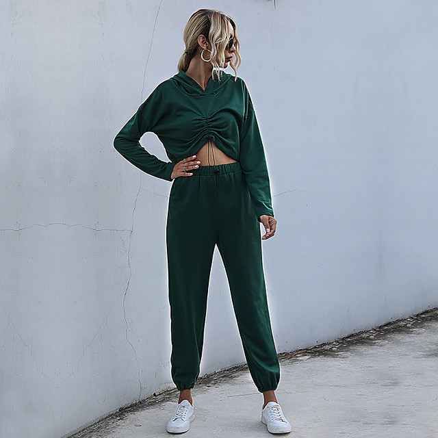 Women's Basic Streetwear Solid Color Daily Two Piece Set Hoodies & Sweatshirts Tracksuit Pant Loungewear Ruched Tops