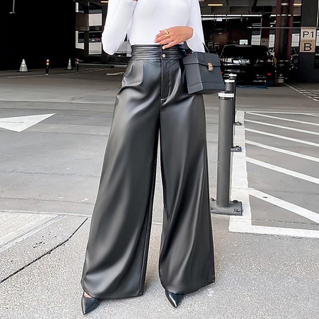 Women's Stylish Streetwear Comfort Casual Work Wide Leg Pants Plain Full Length Black