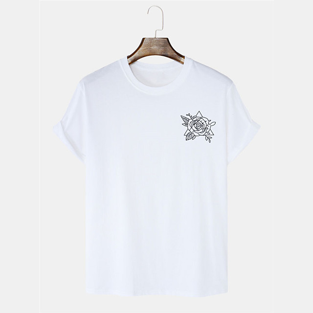 Men's Unisex T shirt Hot Stamping Floral Graphic Prints Plus Size Print Short Sleeve Daily Tops 100% Cotton Basic Casual White Black Blushing Pink